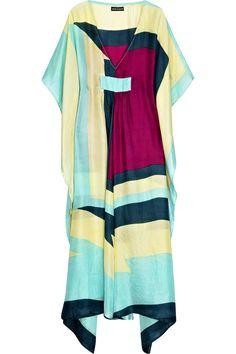 Block-color long silk kaftan by Antik Batik