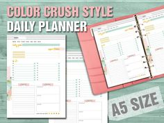 Color crush style printable daily planner size by FiloDelight Daily Planner Pages, Daily Planner Printable, Happy Planner, Free Printable, Kikki K, Filofax, Carpe Diem Planner, Planner Dividers, Polka Dot Background
