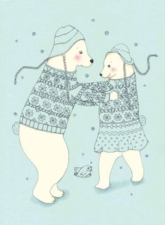 Bear Couple Dancing In the Snow
