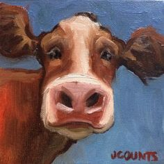 "COW ART FARM ANIMALS BARNYARD RANCH HOME RESTAURANT KITCHEN DECOR GIFT IDEA SMALL PAINTING ""Kasey"" Oil on Canvas  6""x6"""