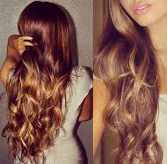 Gorgeous long brown layers with golden blonde highlights.