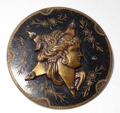 Antique Button Astrea Greek Goddess of Justice w/Cut Steels Large 40mm