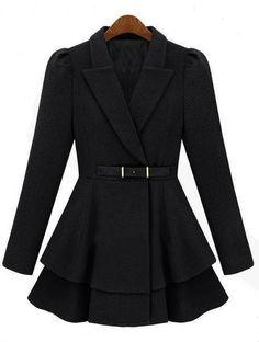 Chaqueta cruzada de lana-Negro EUR€60.78
