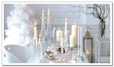 I love all of these beautiful, white Christmas decorations; I love the movie White Christmas that two of my best besties Joan and Haley intr. White Christmas, Noel Christmas, Christmas Wedding, Christmas Ideas, Scandi Christmas, Classy Christmas, Christmas Stuff, White Table Settings, Christmas Table Settings