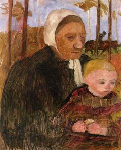 The Athenaeum - Farmwoman with Child, Rider in the Background (Paula Modersohn-Becker - )