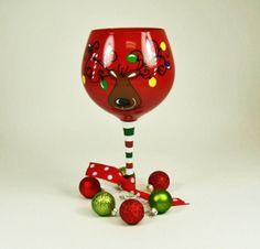 Oversized Reindeer Christmas Wine Glass by DrinkwareLady on Etsy, $20.00