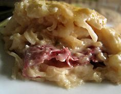 Rapid Reuben Casserole from Food.com:   								Found this recipe in a Family Circle Magazine and tweaked it a little. I used a 16 ounce can of corned beef and I chopped it to make it easier to eat and less expensive. It is a good quick recipe.