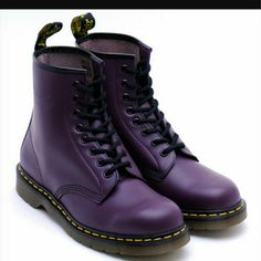 DR. MARTENS color: purple, includes yellow shoe laces, condition: 8/10 .. updated picture in a hour Dr. Martens Shoes