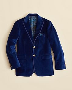 Tallia Boys' Solid Velvet Jacket - Sizes 8-20 | Bloomingdale's Cotton Dry clean Imported Notch lapel, long sleeves with button detail at cuffs, two-button front closure Slit pocket with sewn-in handkerchief at left chest, faux front flap pockets, print lining Two slit pockets at inside left, button pocket at inside right