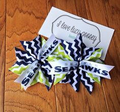 Two Seattle Seahawks hairbows, pigtails, double bow, bow clip, football, cheer