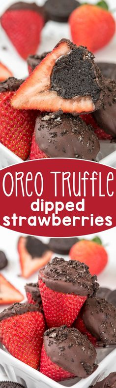 Oreo Truffle Dipped Strawberries - an easy treat for the one you love! Stuff strawberries with an Oreo truffle before you dip - genius!