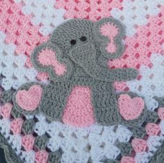 463f1529dd Sitting Elephant Pink and White Baby Blanket   Crochet Baby Blanket   Baby  Shower Gift For Girl   Elephant Theme Gift   Newborn Blanket