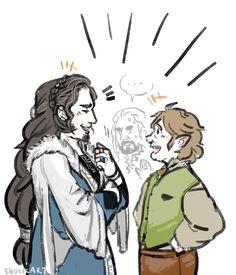 Dis and Bilbo Hobbit Funny, Hobbit 3, Tolkien Hobbit, Tolkien Books, Lotr, Hobbit Hole, Legolas And Thranduil, Tauriel, Kili