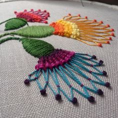 These beautiful thistles are the perfect floral addition to your home. Padded to create a dimensional look this design will add interest to any room. The thistles are all hand embroidered with stranded cotton threads. The pods are padded with felt to create depth. The flowers are created using a variety of stitches including turkey work, French knots and weaving. The hoop will be backed with 100% cotton fabric (stitched, not glued) and will come with a pretty ribbon ready for hanging. ...