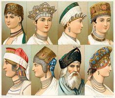 Russian popular headgear. From Geschichte des Kostüms (The costume history) vol. 5, by Auguste Racinet, Berlin, 1888.