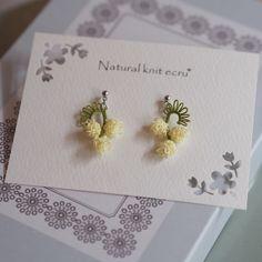 *創作タティング お花シリーズ* ミモザのピアス http://naturalknit-ecru.com