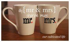 our cultivated life: diy {mr&mrs} sharpie mugs Sharpie Crafts, Diy Sharpie Mug, Cute Crafts, Creative Crafts, Diy Mugs, Mug Art, Diy Christmas Gifts, Engagement Gifts, Mug Designs