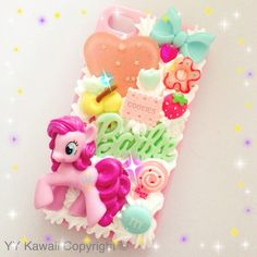 Pinkie Pie My Little Pony Kawaii Decoden Phone case available at £15 for iPhones and Samsung galaxy  https://www.etsy.com/shop/YYKawaii