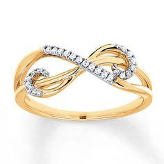 Diamond Ring 1/10 ct tw Round-cut 10K Yellow Gold