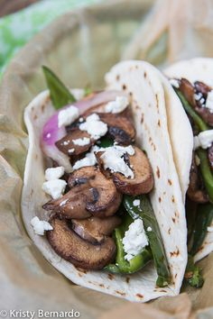 Mushroom & Poblano Tacos with Creamy Goat Cheese (substitute soft corn tortillas, or whole wheat ones).