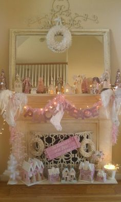 Shabby & Chic Christmas Mantel in pink and white