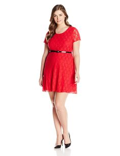 220ee16d5ee Star Vixen Women s Plus-Size Short Sleeve Lace Skater Dress with Belt