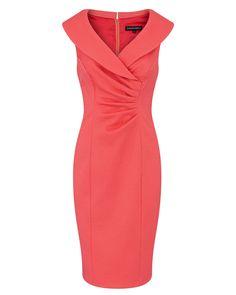 Coral Stretch Pique Portrait Neck Dress Image 0