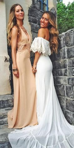 simple off the shoulder boho wedding dresses with train