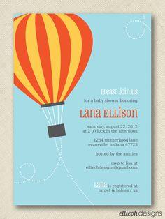 hot air balloon invite PRINTABLE 5x7 digital file DIY. $15.00, via Etsy.
