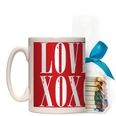 Hugs And Kisses Mug, White, with Ghirardelli Assorted Squares, 15 oz, Red