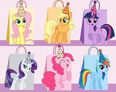 My Little Pony DIY Favor Bag Template, My Little Pony Party Bags Printable, My Little Pony DIY Gift Bag, My Little Pony Birthday Printable