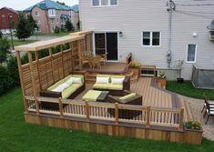patio perdola 2 level modern examlple idee - Home Design Inspiration Backyard Layout, Backyard Bar, Small Backyard Pools, Backyard Retreat, Modern Patio Design, Concrete Patio Designs, Backyard Patio Designs, Gazebo On Deck, Pergola Patio