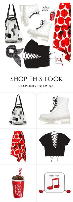 """""""Dots, No Leather"""" by interesting-times ❤ liked on Polyvore featuring Maison Margiela, STELLA McCARTNEY, Happy Plugs, Vanessa Mooney and PolkaDots"""