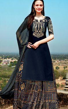 8d2289b7d232 Black Pure Cotton Satin Semi Stitched Salwar Kameez