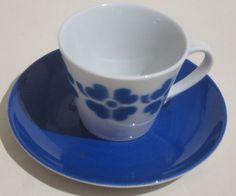 Arabia puhalluskoriste kahvikuppi - retro sin. neliapila - Huuto.net