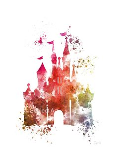 Cinderella Castle ART PRINT 3ème illustration Edition, Disney, princesse, technique mixte, Home Decor, pépinière, Kid