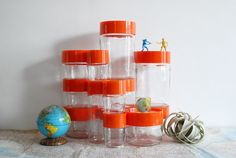 Vintage Glass Containers with Orange Plastic Lids - Large Set of 13 Danish Modern Style Canisters