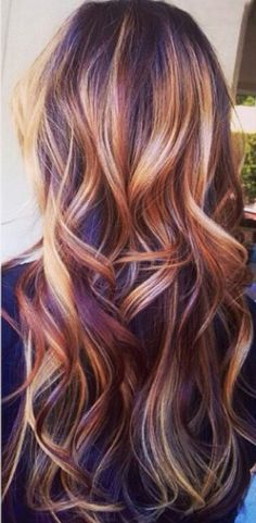i adore these colors! Blonde, carmel, and an almost purple? ❤