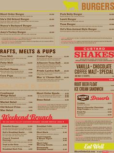 Menu design, Short Order in LA