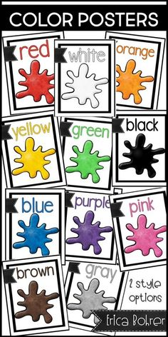 Classroom printable color posters: red, white, orange, yellow, green, black, blue, purple, pink, brown, gray, & grey