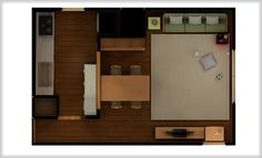 A layout of a 24 sq m (14 jō) kitchen and living room. Fairly common in Japan. This site estimates the rent to be 100k-200k yen