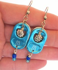Energy Drink Pull Tab Earrings - Bubbly - turquoise and blue - soda pop tabs - upcycled/recycled - for teens and women - gifts under 15.00. $13.00, via Etsy.