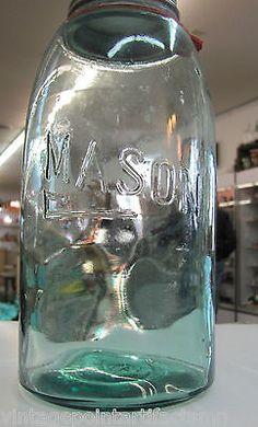Vintage-Aqua-Blue-Mason-Jar-SHEPHERD-Crook-Half-1-2-Gallon-2-Quart-Ball-Zinc-Lid