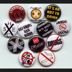 Straight Edge No Drugs Drinking Smoking pinback button set by Yesware11 on Etsy.. Click for details!