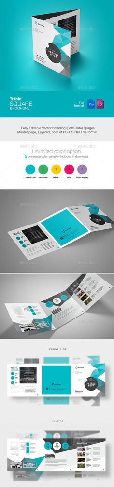 Square Trifold Brochure  — PSD Template #creative brochure #210x630 #artistic…
