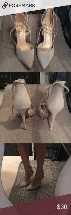 Tie up heels Super cute Lulus tie up heels! Worn probably twice. They are just too big for me. Lulu's Shoes Heels