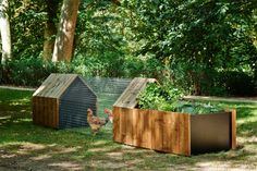 <p>The coop's exterior is made with a soft moisture-resistant pine called Thermowood, which helps it withstand the elements.</p>