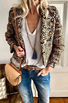 #winter #outfits brown coat with white inner shirt and blue denim jeans outfit