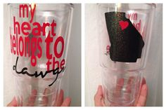 My Heart Belongs to... Georgia bulldogs large double walled monogrammed cup on Etsy, $12.50
