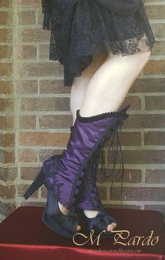Deep purple spats with black lace by mpardovicouture on Etsy, €90.00